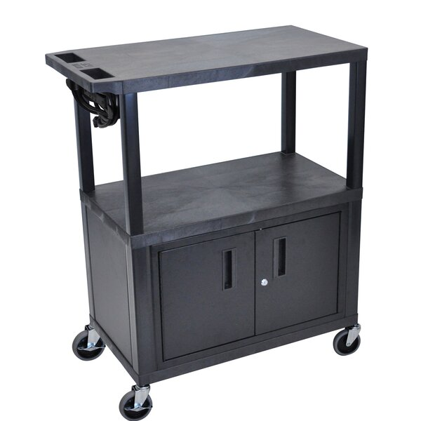 2 Flat Shelf Electric AV Cart by Offex