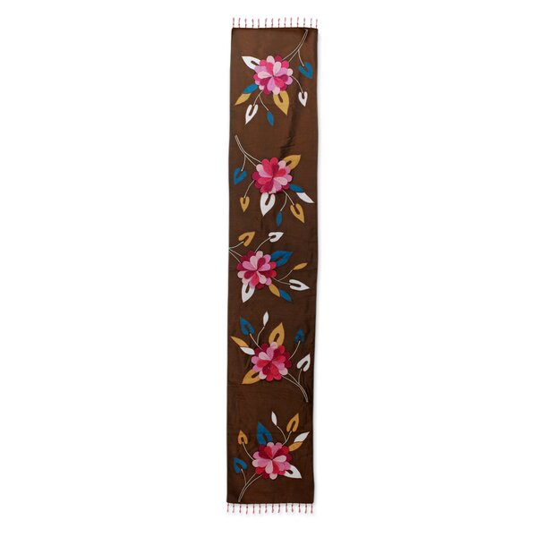 Bradt Floral Cascade Appliqué Table Runner by Bloomsbury Market