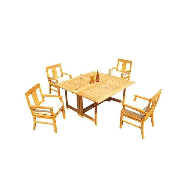 Kevon 5 Piece Teak Dining Set By Rosecliff Heights by Rosecliff Heights New
