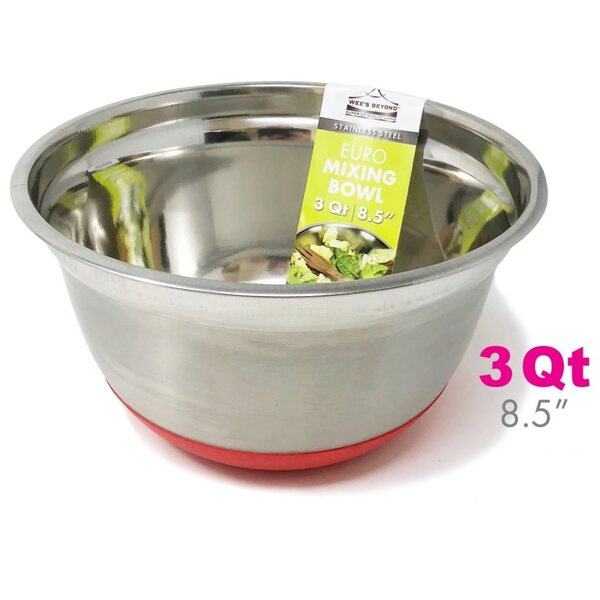 Stainless Steel Euro Style 3 qt. Mixing Bowl by Wee's Beyond