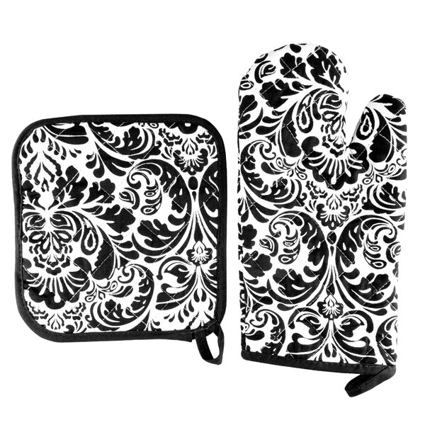 Damask Quilted 2 Piece Oven Mitt and Pot Holder Set by Lavish Home