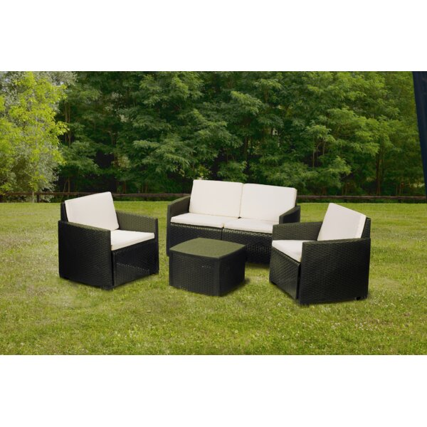 Etna 4 Piece Rattan Sofa Seating Group with Cushions