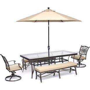 Bouck 5 Piece Dining Set with Umbrella By Three Posts