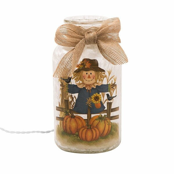 Frosted Glass Mason Scarecrow Luminary by Glitzhome