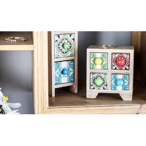 Traditional Square Lattice-Patterned 4-Drawer Ceramic Jewelry Box by Bloomsbury Market
