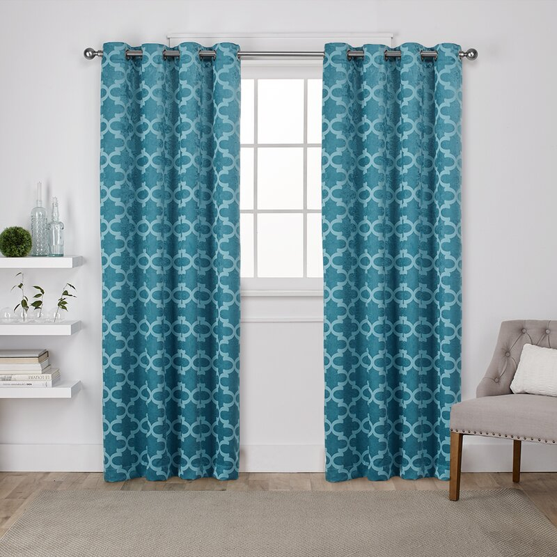 Britain Geometric Blackout Thermal Grommet Curtain Panels
