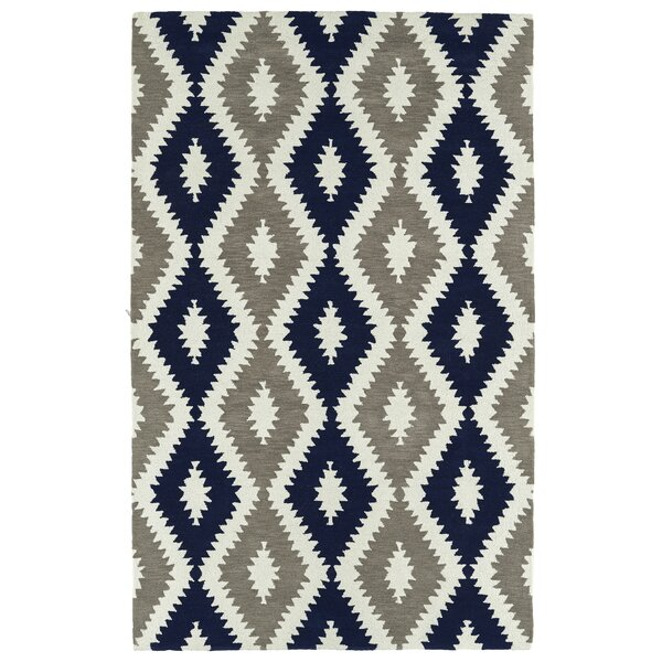 Hinton Charterhouse Hand-Tufted Navy/Ivory Area Rug by Wrought Studio