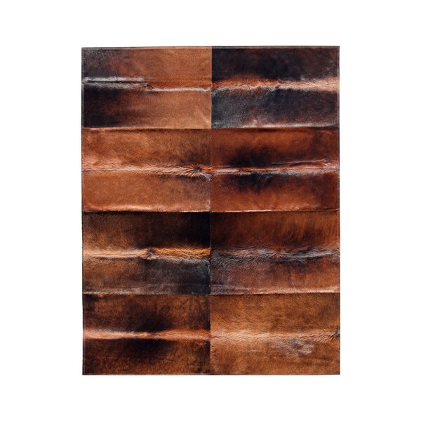 Patchwork Cowhide Oak Cognac Brown Area Rug by Pure Rugs
