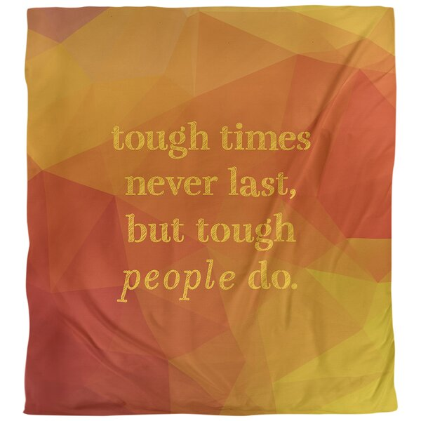 Quotes Faux Gemstone Tough Times Single Reversible Duvet Cover