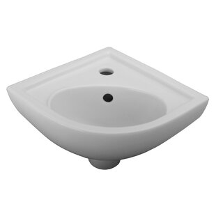 Price comparison Petite Vitreous China 17.37 Wall Mount Bathroom Sink with Overflow ByBarclay
