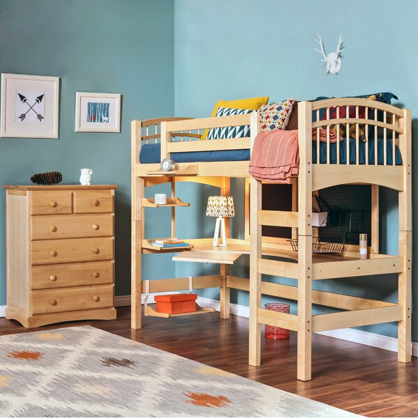 Sandisfield Twin Loft Bed with Shelves by Zoomie Kids
