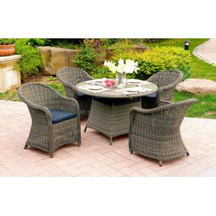 Filippo 5 Piece Dining Set with Cushions By One Allium Way
