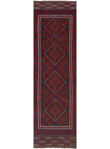 One-of-a-Kind Dizon Hand-Knotted Wool Red/Blue Area Rug by Isabelline