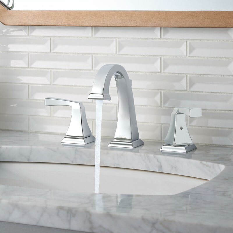 bathroom faucets. Dryden  Deck Mounted Double Handle Bathroom Faucet with Drain Assembly and Diamond Seal Technology Delta