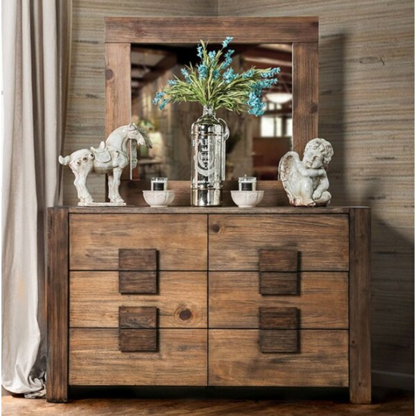 Bushman 6 Drawer Double Dresser with Mirror by Union Rustic