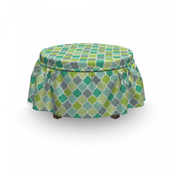 Vibrant Trellis Quatrefoil 2 Piece Box Cushion Ottoman Slipcover Set By East Urban Home