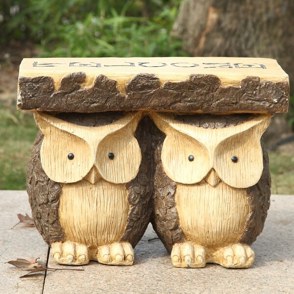 Two Owls with Welcome Plant Stand by Hi-Line Gift Ltd.