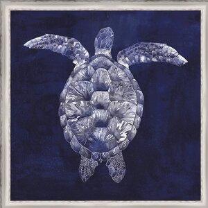 Coastal 'Custom Sea Turtle Shadow I (ASH)' Framed Graphic Art by Ashton Wall Décor LLC