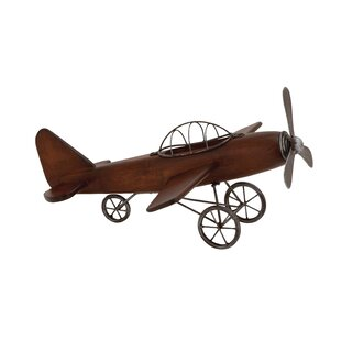 Styled Wood Metal Airplane Sculpture