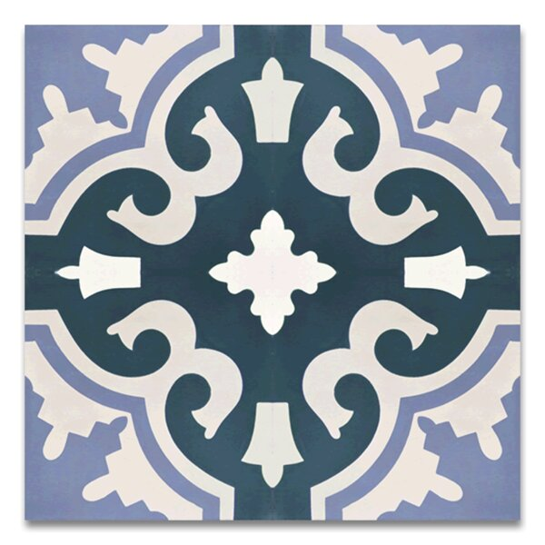 Tanger Handmade 8 x 8 Cement Tile in Navy Blue/White by Moroccan Mosaic