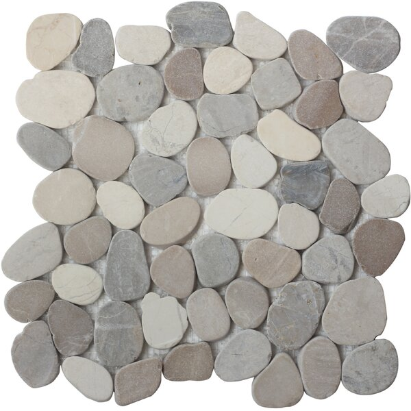 Random Sized Natural Stone Mosaic Tile in White by FuStone