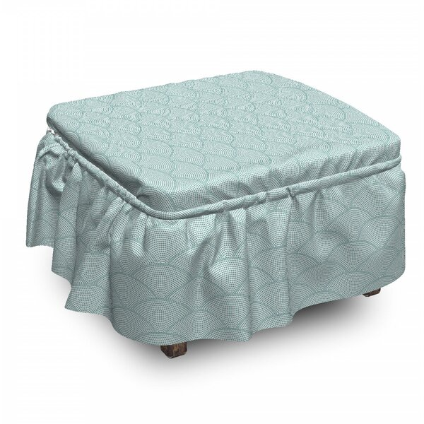 Geometric Half Circle Scales 2 Piece Box Cushion Ottoman Slipcover Set By East Urban Home