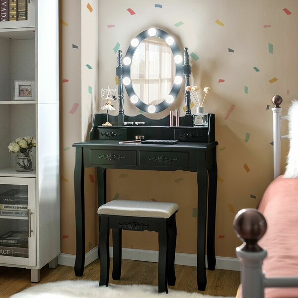 Craighead Solid Wood Vanity Set with Stool and Mirror by House of Hampton House of Hampton