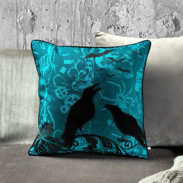 Halloween Crow Throw Pillow by 14 Karat Home Inc.