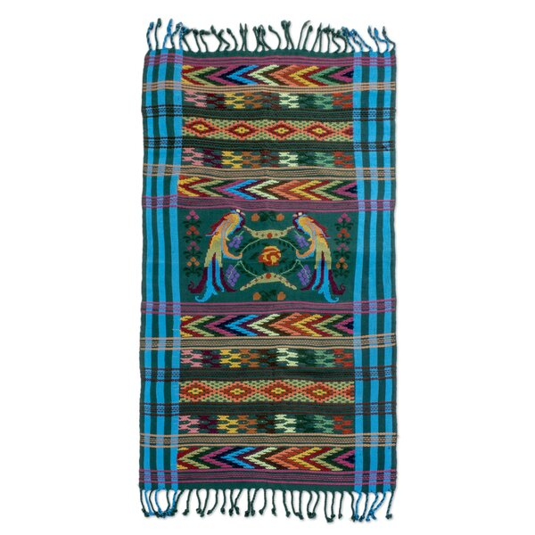 Turquoise Quetzal Cotton Table Runner by Novica