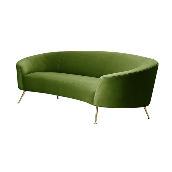 Velvet 93.7-inch Round Arms Sofa by Pasargad Pasargad
