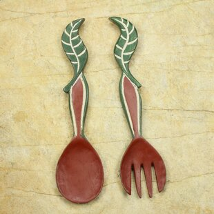 Superior Nourishment Hand Crafted African Wood Spoon And Fork Wall Décor (Set Of 2)