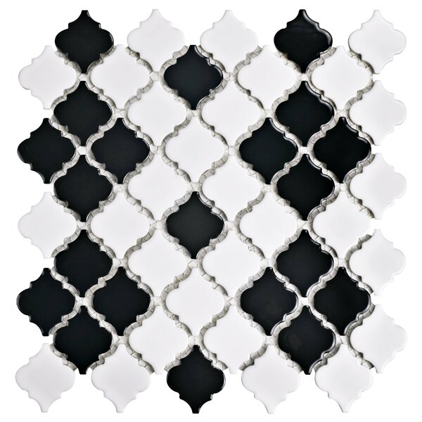 Pharsalia 2 x 2.5 Porcelain Mosaic Tile in Black/White by EliteTile