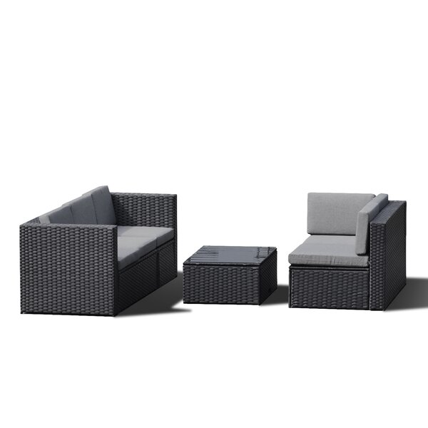 Elsinore 4 Piece Rattan Sectional Seating Group with Cushions by Latitude Run