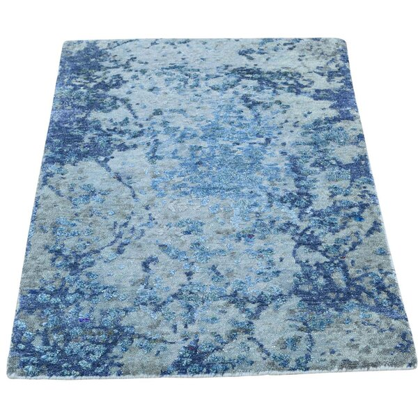 One-of-a-Kind Edelstein Hand-Knotted Blue Area Rug by 17 Stories