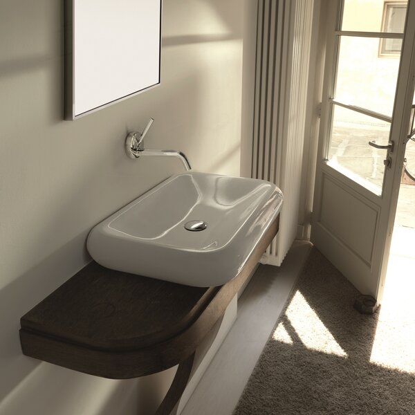 Cento Ceramic Ceramic Rectangular Vessel Bathroom Sink by WS Bath Collections