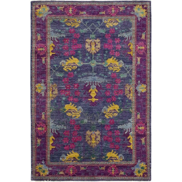One-of-a-Kind Weid Hand-Knotted Wool Purple Indoor Area Rug by Bloomsbury Market