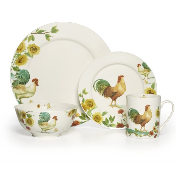 Rooster Meadow 16 Piece Dinnerware Set, Service for 4 by Pfaltzgraff Everyday
