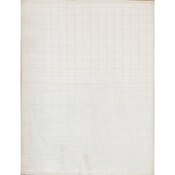 Indian Hand-Knotted Wool Cream Area Rug by Bokara Rug Co., Inc.