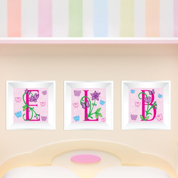 3 Piece Butterfly Letters Picture Frame Wall Decal by Mona Melisa Designs