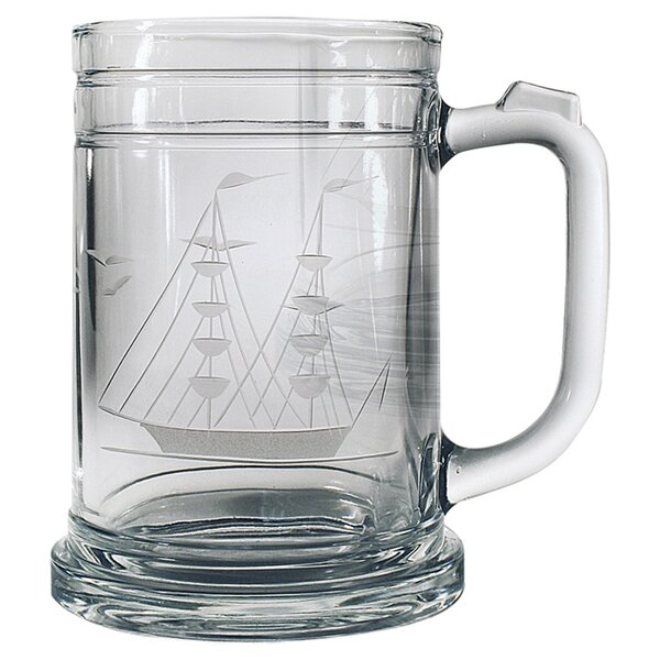 Clipper Ship Hand-Cut Tankard Mug (Set of 4) by Susquehanna Glass