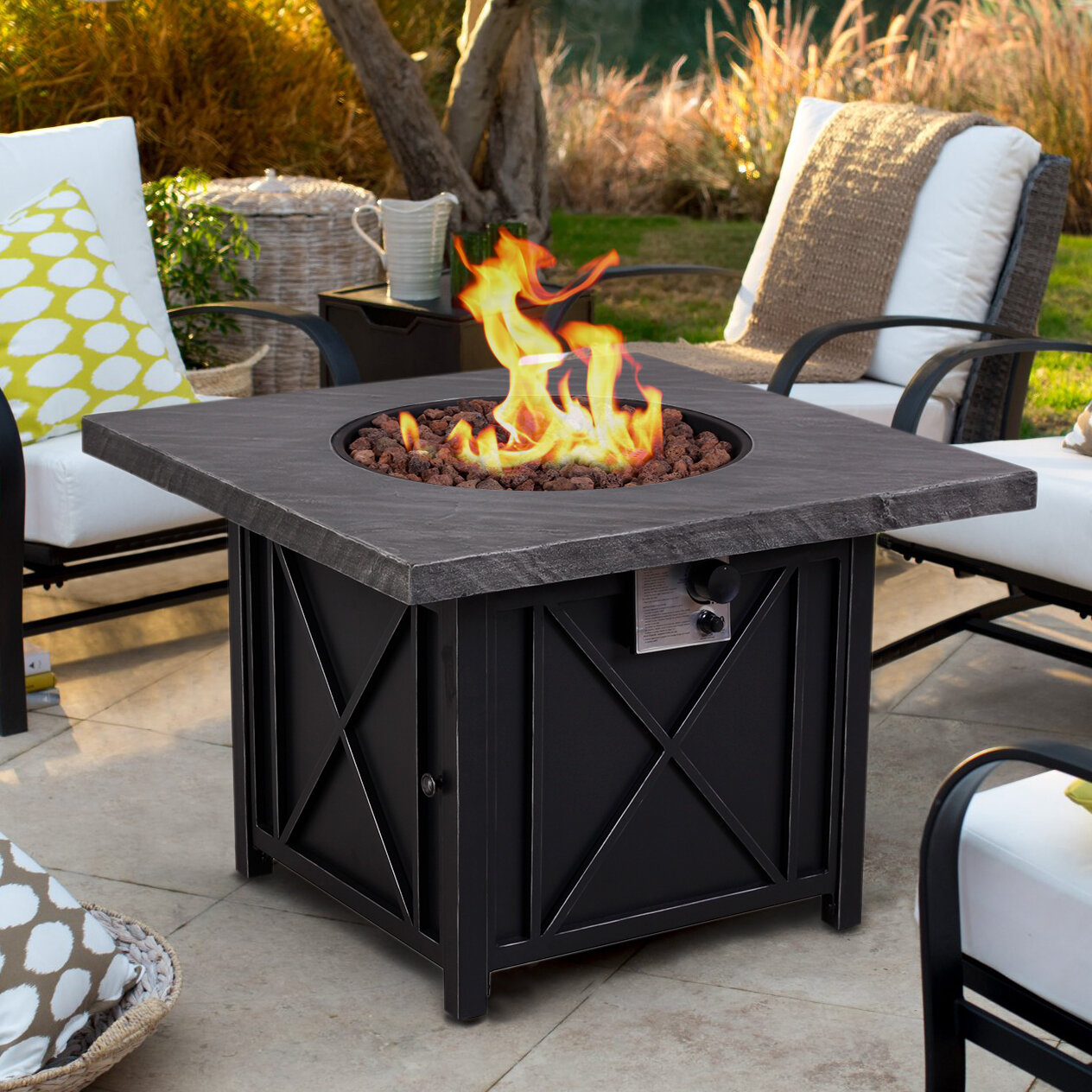 Arlmont Co Norris Steel Stone Propane Gas Fire Pit Table Reviews Wayfair
