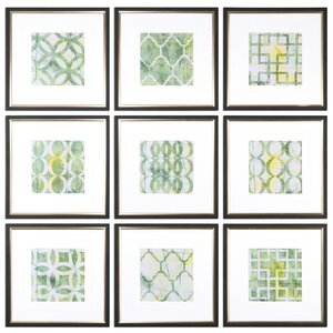 Metric Links Geometric 9 Piece Framed Painting Print Set by Uttermost