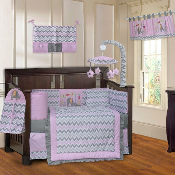 Elephant Zigzag 10 Piece Crib Bedding Set by Babyf