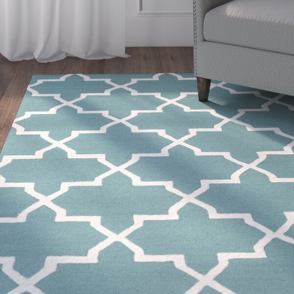 Blaisdell Teal Geometric Keely Area Rug by Charlton Home