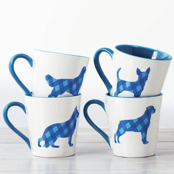 Brooklawn Dog Design Plaid 4 Piece Coffee Mug Set by Red Barrel Studio