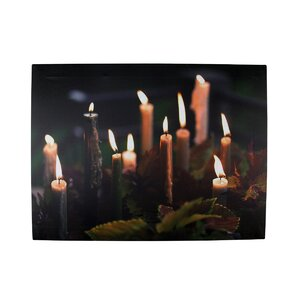Battery Operated 6 LED Lighted Candle and Leaves Scene Photographic Print on Canvas by Northlight Seasonal
