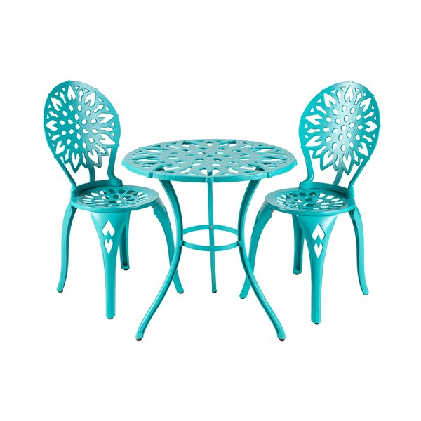 Lemus Sunflower 3 Piece Bistro Set by Rosecliff Heights