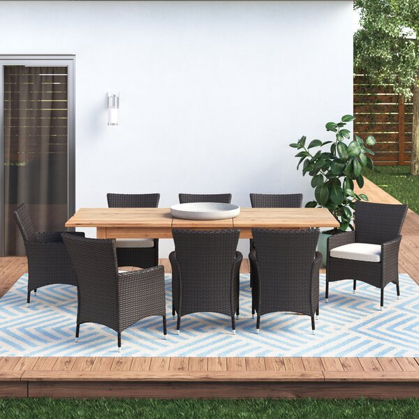 Woodhouse 9 Piece Extendable Dining Set with Cushions by Gracie Oaks