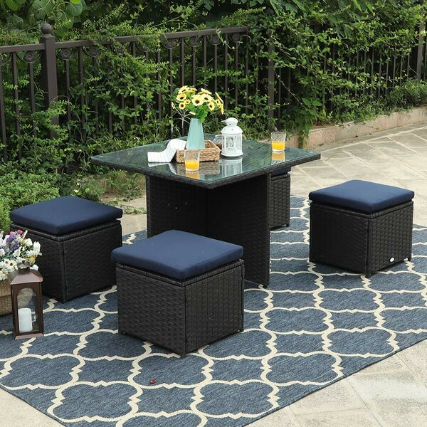 Haedus 5 Piece Rattan Complete Patio Set With Cushions By Wrought Studio