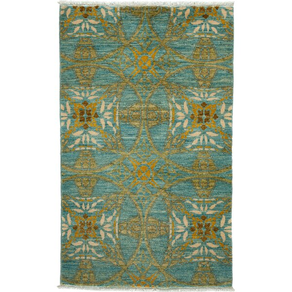 One-of-a-Kind Damian Hand-Knotted Light Blue Area Rug by Isabelline
